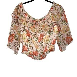 WAYF Coral Floral Cosenza Off Shoulder Top Large